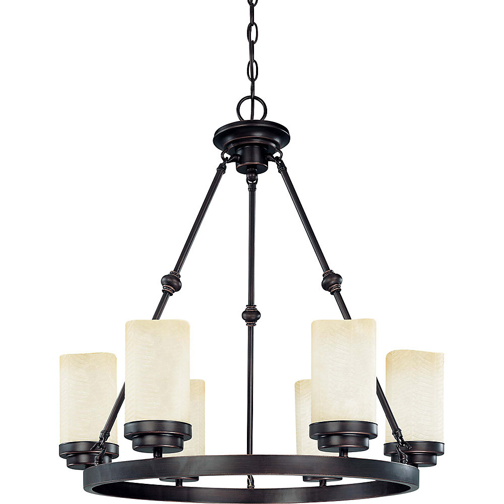 Lucern  6-Light 26 Inch Oval Chandelierwith Saddle Stone Glass Finished in Patina Bronze