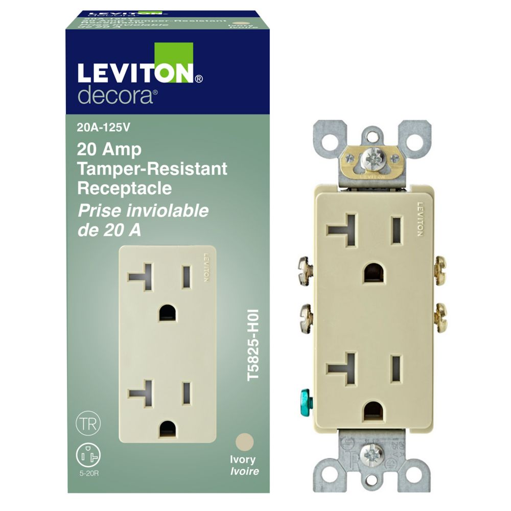 Leviton decora decora tamper resistant receptacle 20a for Decora home