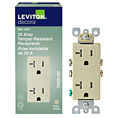 Decora Tamper Resistant Receptacle 20A, in Ivory