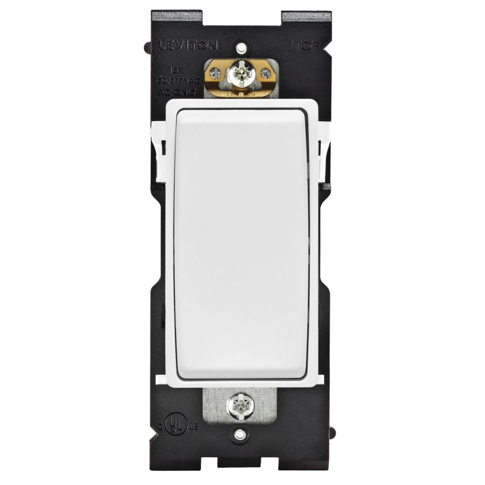 Leviton Renu Switch RE151-WW for Single Pole Applications, 15A-120/277VAC, in White on White