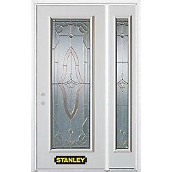Stanley Doors Porte dentrée en acier préfini en blanc, munie d'un panneau de verre, 53 po x 82 po avec panneaux latéraux et moulure de brique - ENERGY STAR®