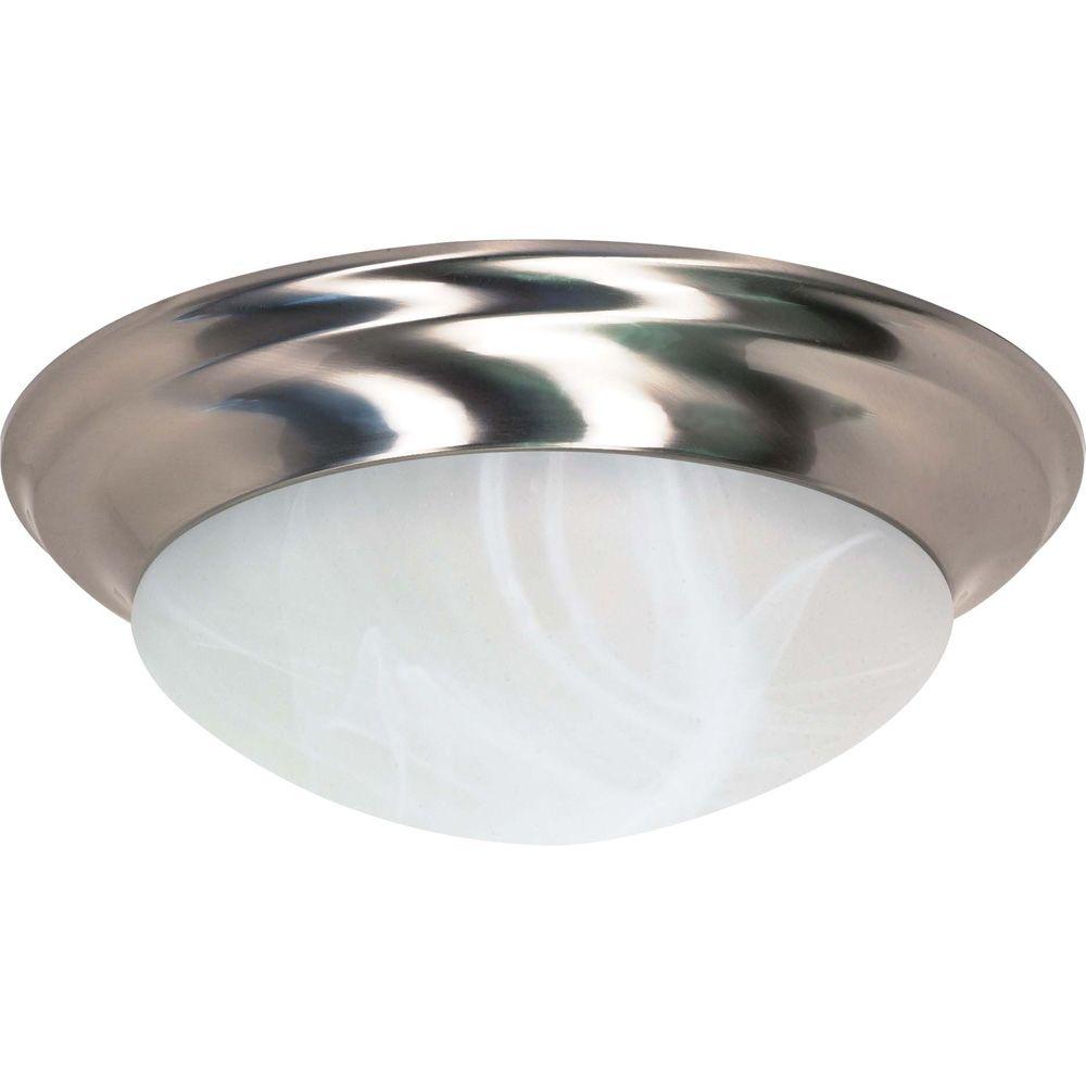 3 Light Brushed Nickel Fluorescent 17 Inch Flush Mount Twist & Lock with Alabaster Glass (3) 13 w...