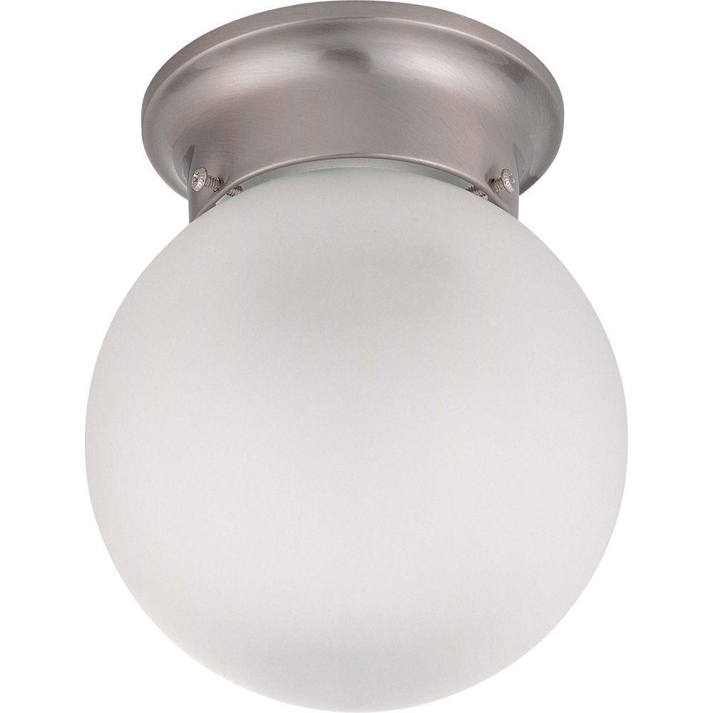 3-Light Brushed Nickel Fluorescent 15 Inch Semi Flush with Frosted White Glass (3) 13 watt CFL Bu...