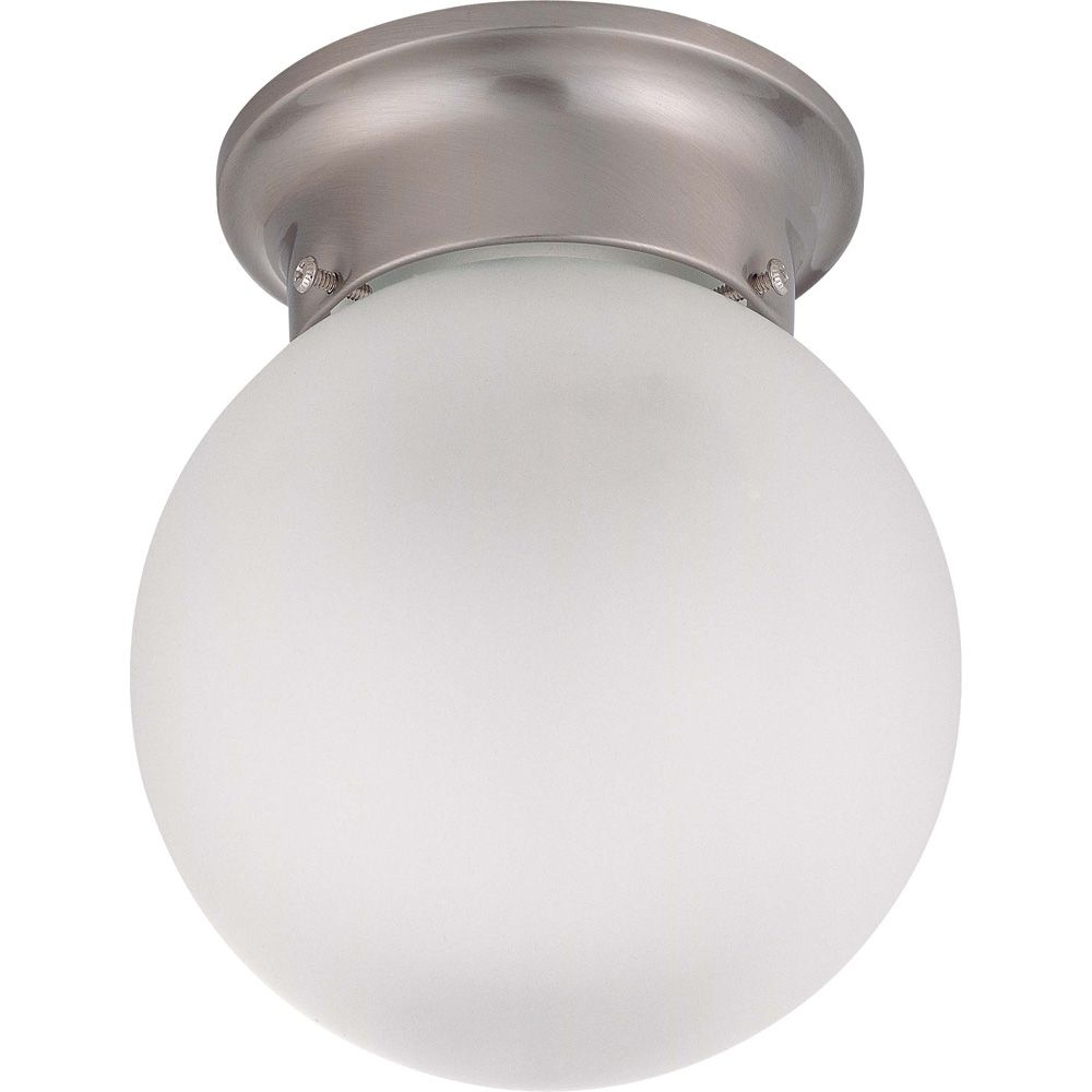 Glomar 3-Light Brushed Nickel Fluorescent 15 Inch Semi Flush with Frosted White Glass (3) 13 watt CFL Bulbs Included
