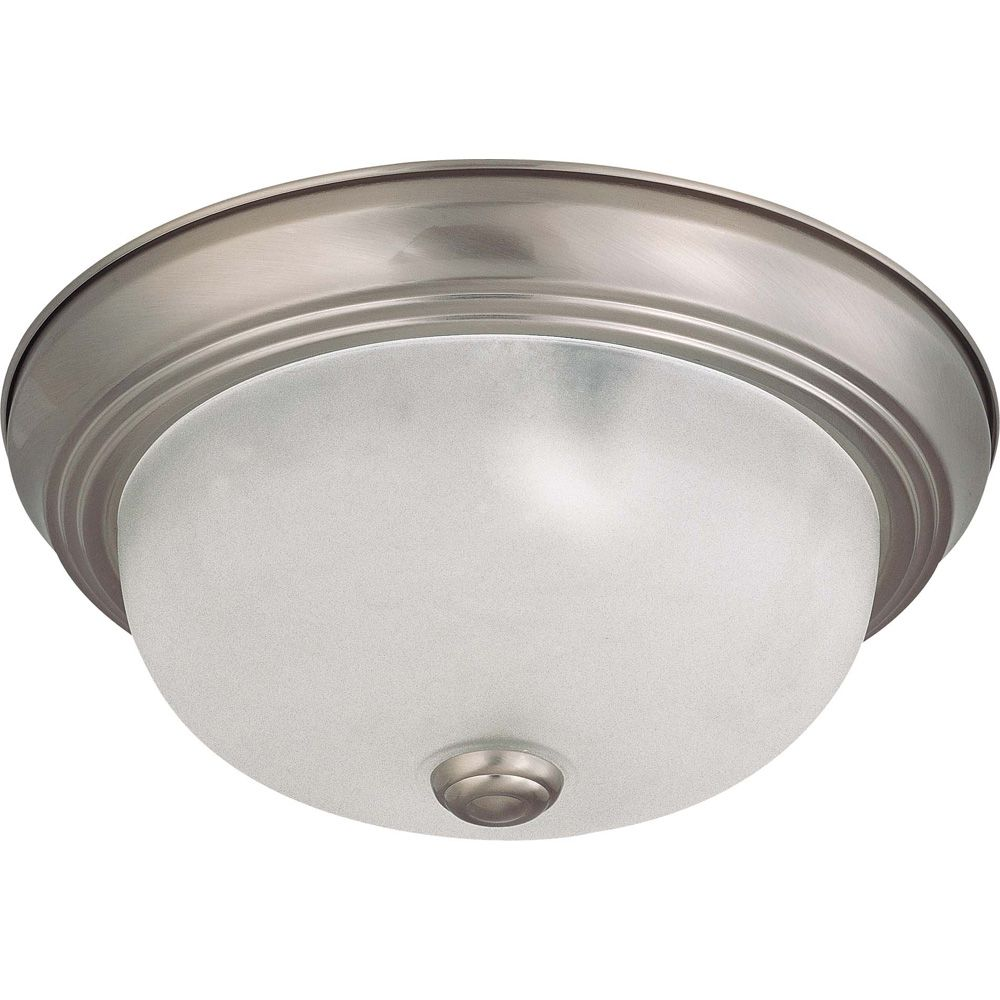 2-Light Brushed Nickel Fluorescent 11 Inch Flush Mount with Frosted White Glass (2) 13 watt CFL B...