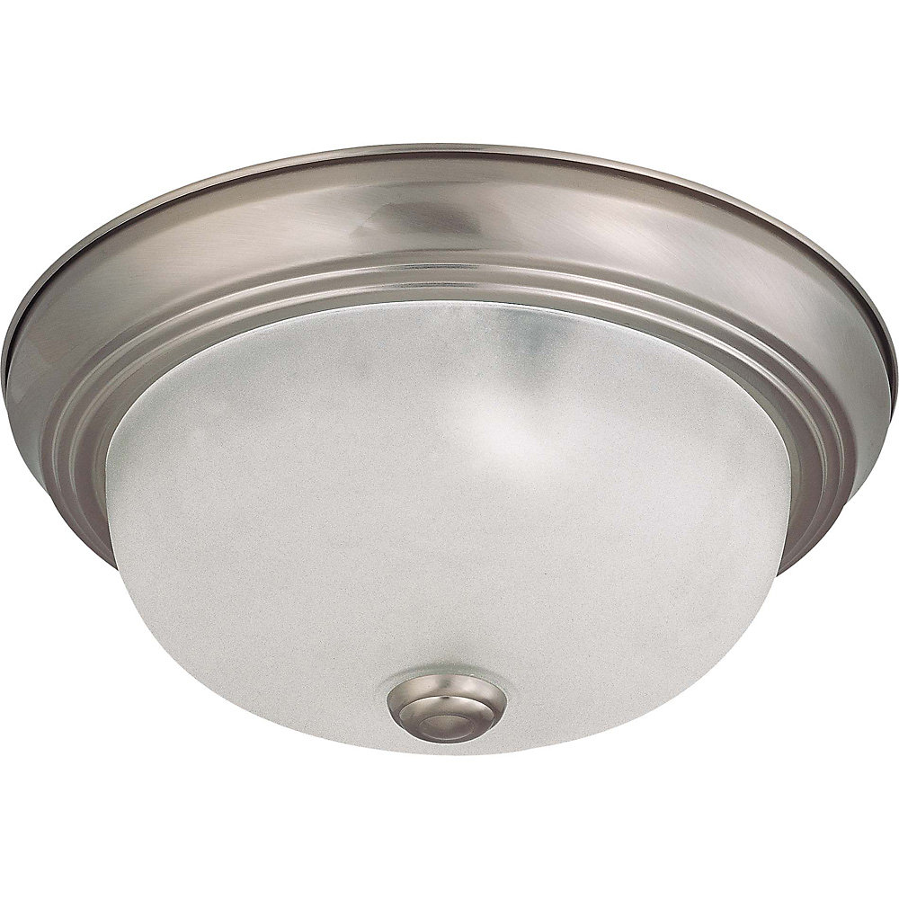 2-Light Brushed Nickel Fluorescent 11 Inch Flush Mount with Frosted White Glass (2) 13 watt CFL Bulbs Included