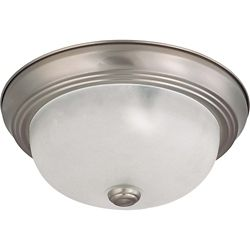 Glomar 2-Light Brushed Nickel Fluorescent 11 Inch Flush Mount with Frosted White Glass (2) 13 watt CFL Bulbs Included