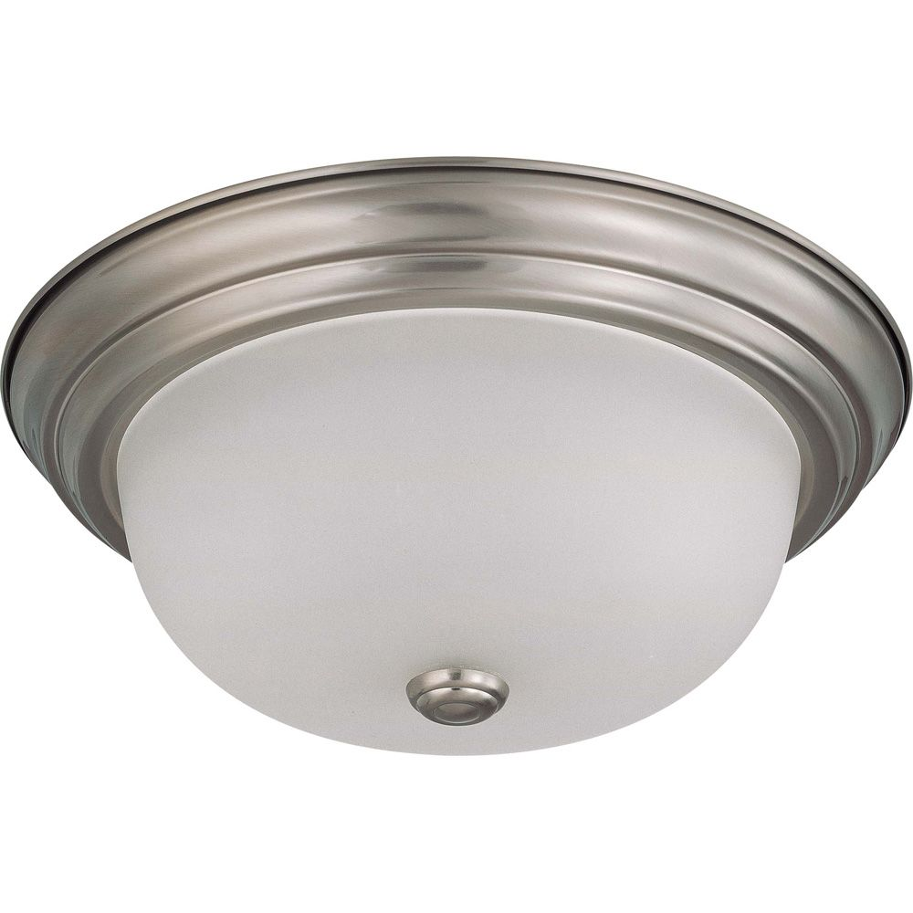 2-Light Flush-Mount Brushed Nickel Fluorescent Light Fixture