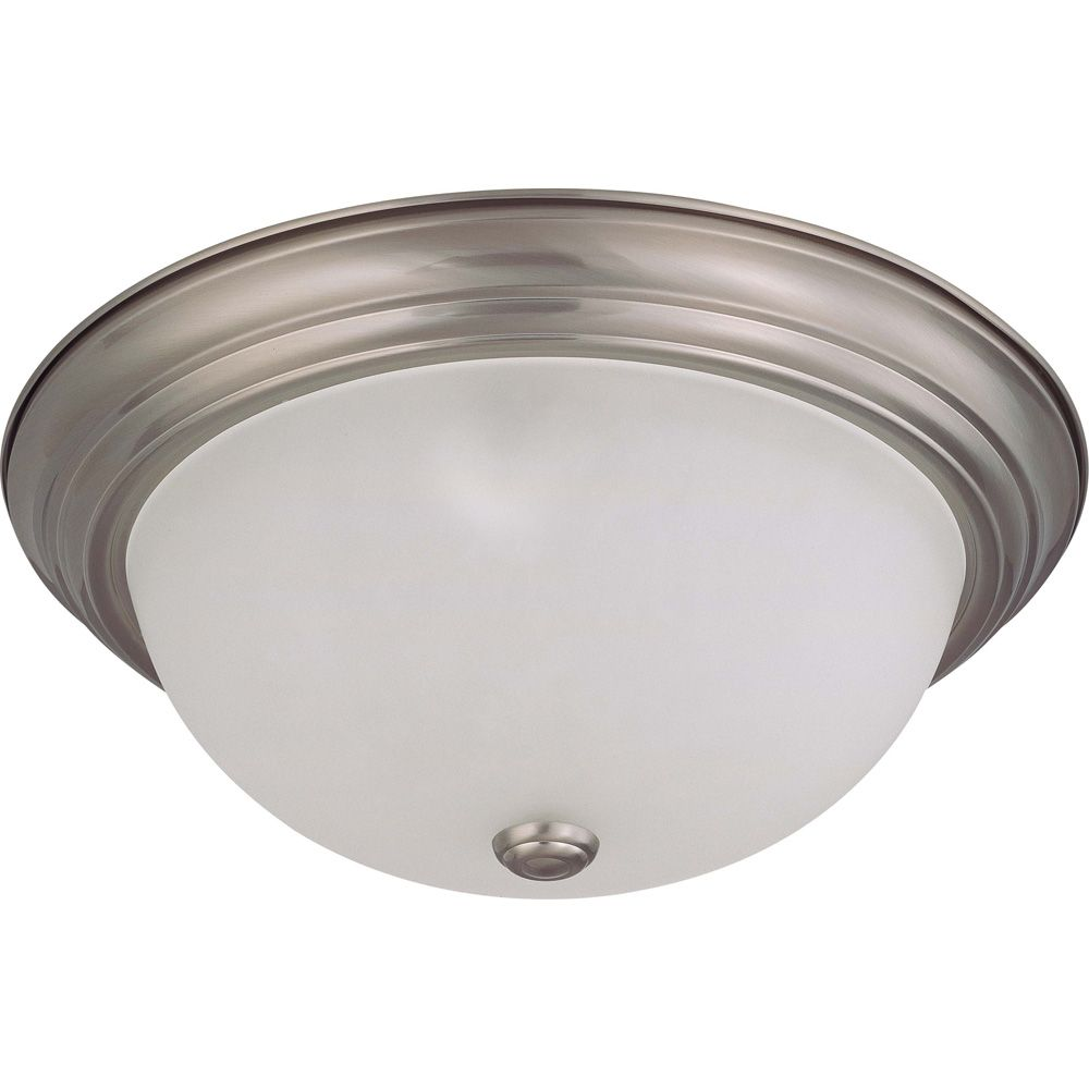 3 Light Brushed Nickel Fluorescent 15 Inch  Flush Mountwith Frosted White Glass  (3) 13W CFL  Bul...