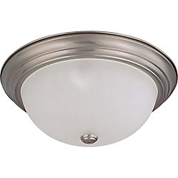 Glomar 3 Light Brushed Nickel Fluorescent 15 Inch Flush Mountwith Frosted White Glass (3) 13W CFL Bulbs Included