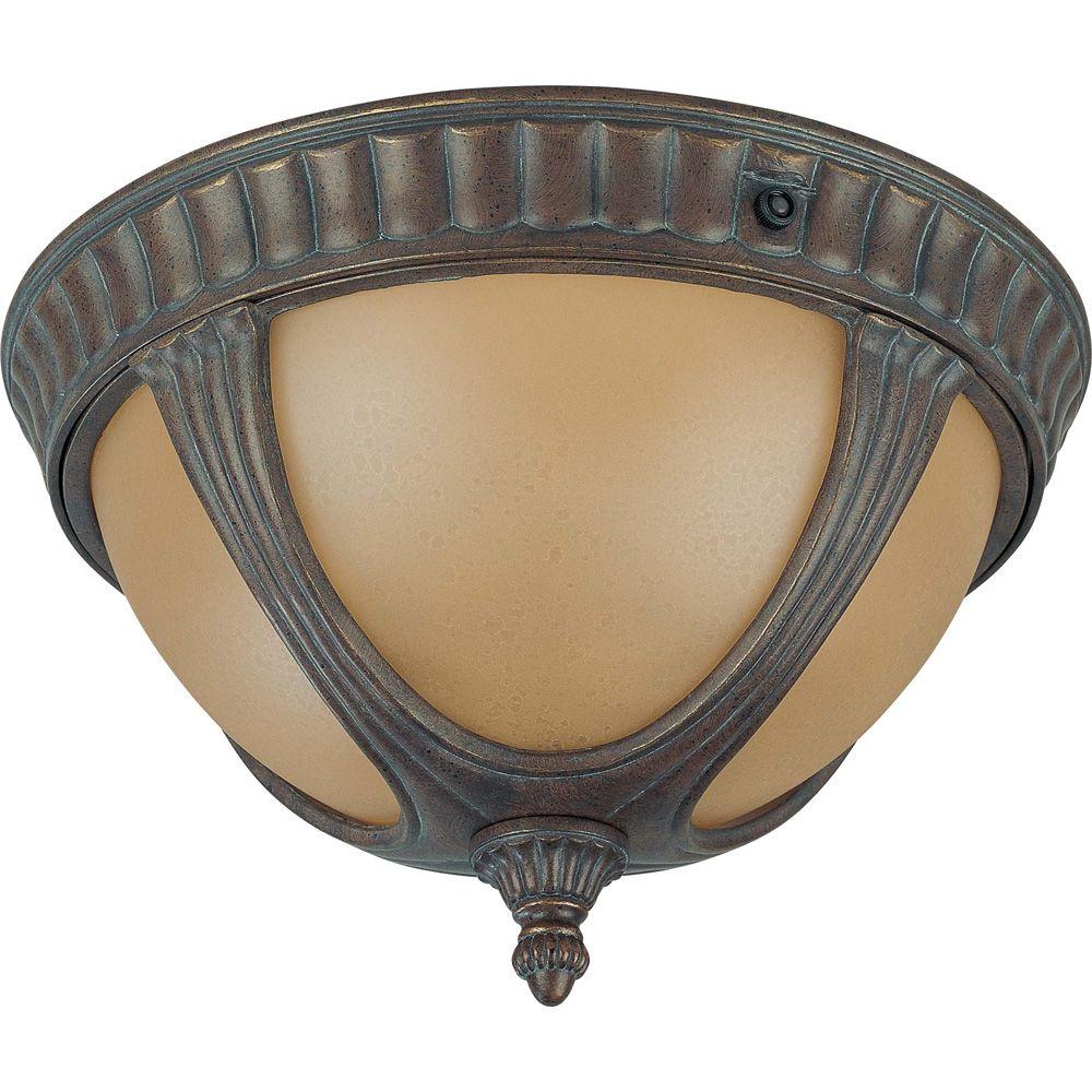 Plafonnier à deux ampoules avec abat-jour de spécialité, finition de spécialité