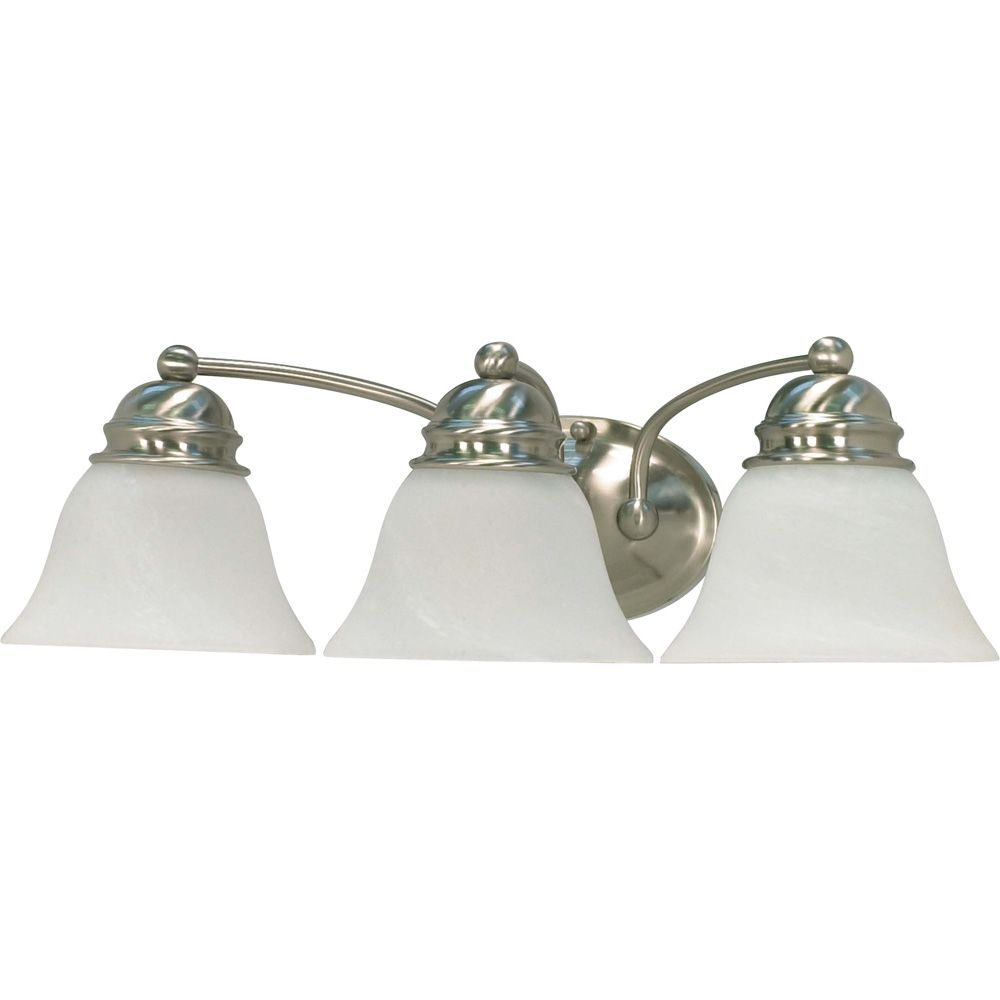 Empire Brushed Nickel 3-Light 21 Inch Vanity with Alabaster Glass 13 watt CFL Bulbs Included