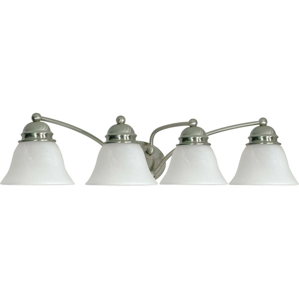 Empire Brushed Nickel 4-Light 29 Inch Vanity with Alabaster Glass 13 watt CFL Bulbs Included
