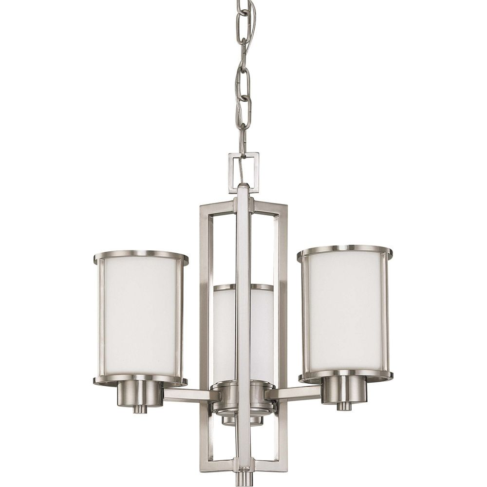 Odeon  3-Light Convertible Up/Down Chandelierwith Satin White Glass Finished in Brushed Nickel