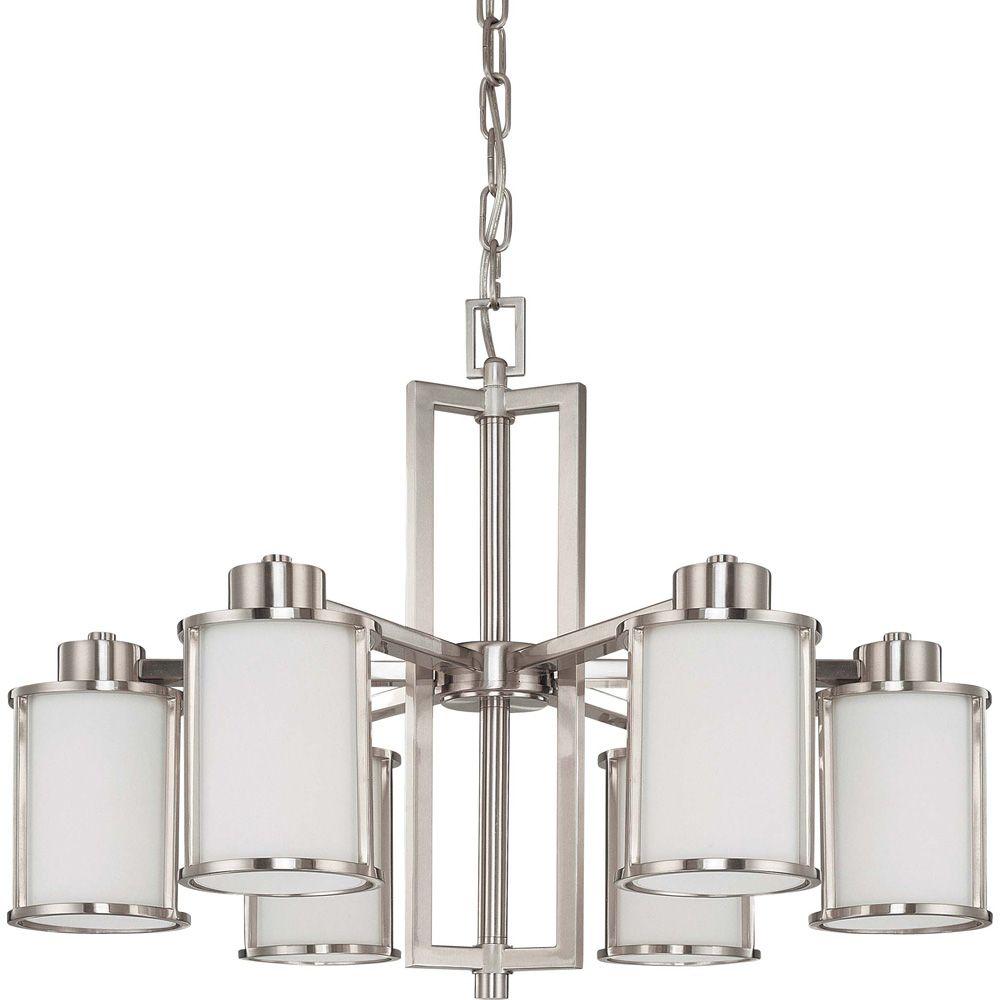 Lustre à six ampoules avec abat-jour blanc, finition de spécialité