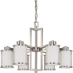 Glomar Odeon 6-Light Convertible Up/Down Chandelier with Satin White Glass Finished in Brushed Nickel