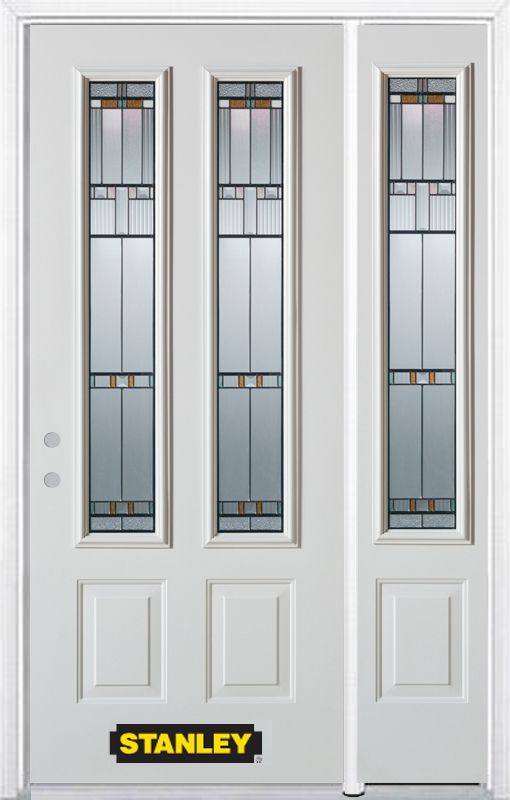 Stanley Doors 48.25 inch x 82.375 inch Chicago Patina 2-Lite 2-Panel Prefinished White Right-Hand Inswing Steel Prehung Front Door with Sidelite and Brickmould