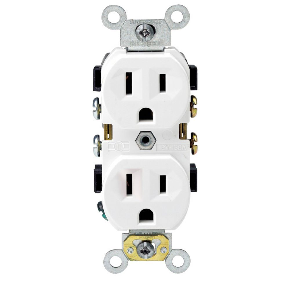 Heavy Duty Duplex Receptacle, 15A, 10-Pack, in White