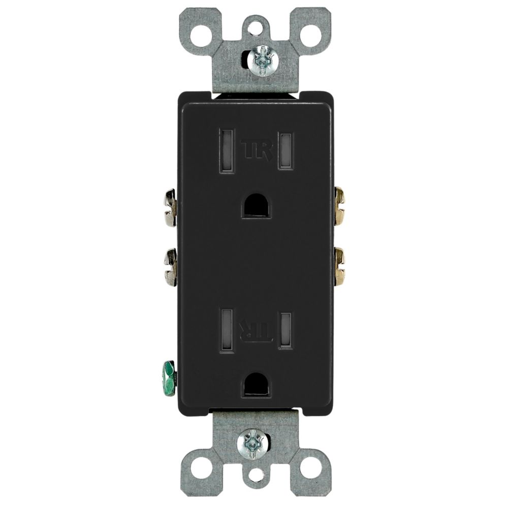 Decora Tamper Resistant Receptacle 15A, in Black