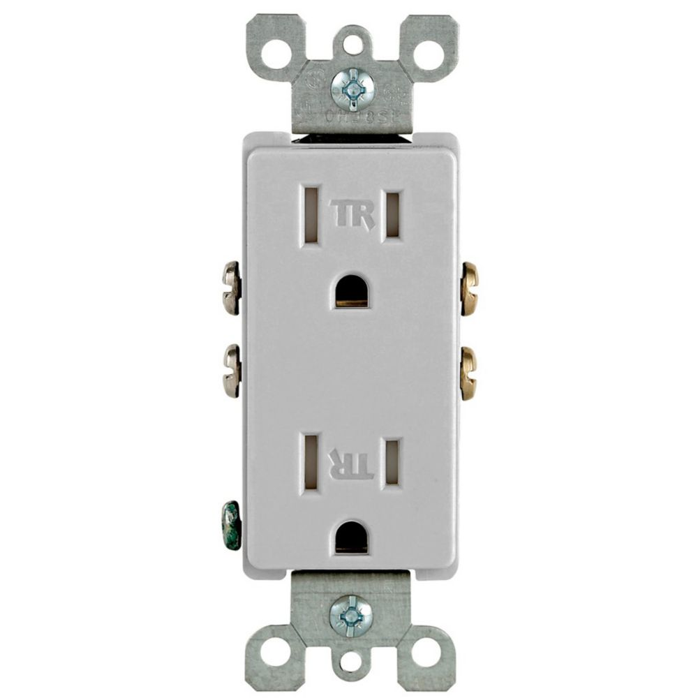 Decora Tamper Resistant  Receptacle 15A, in Grey