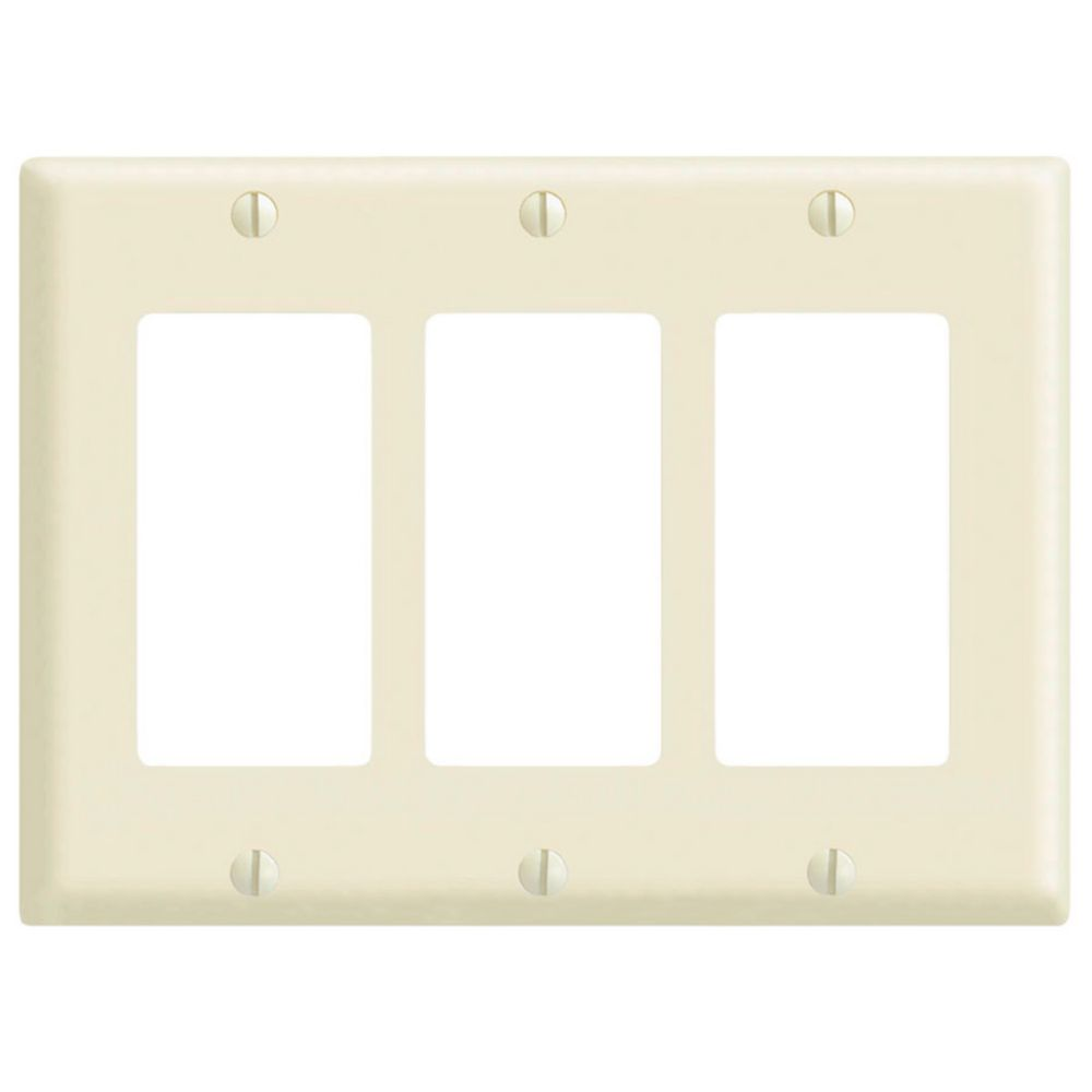 Leviton decora decora 3 gang wallplate in light almond for Decora home