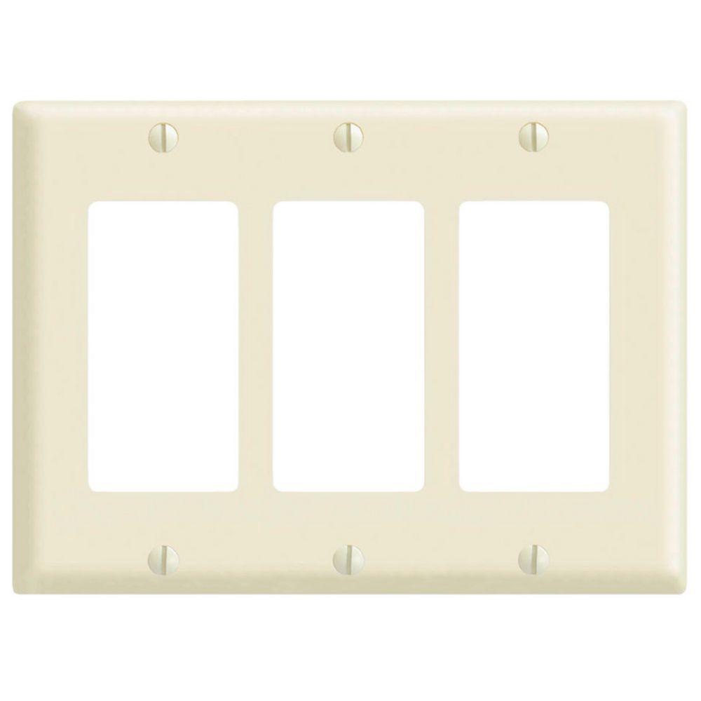 Decora 3-Gang Wall Plate, in Light Almond