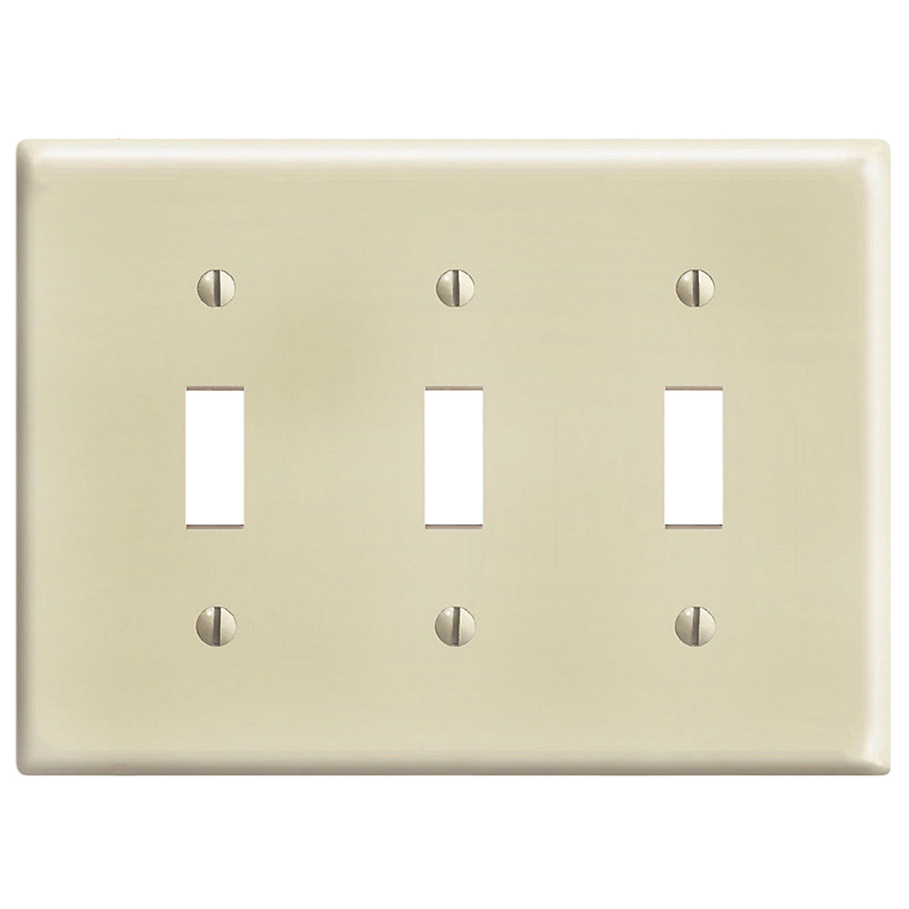 3-Gang Midway Nylon Toggle Switch wall plate, in Ivory