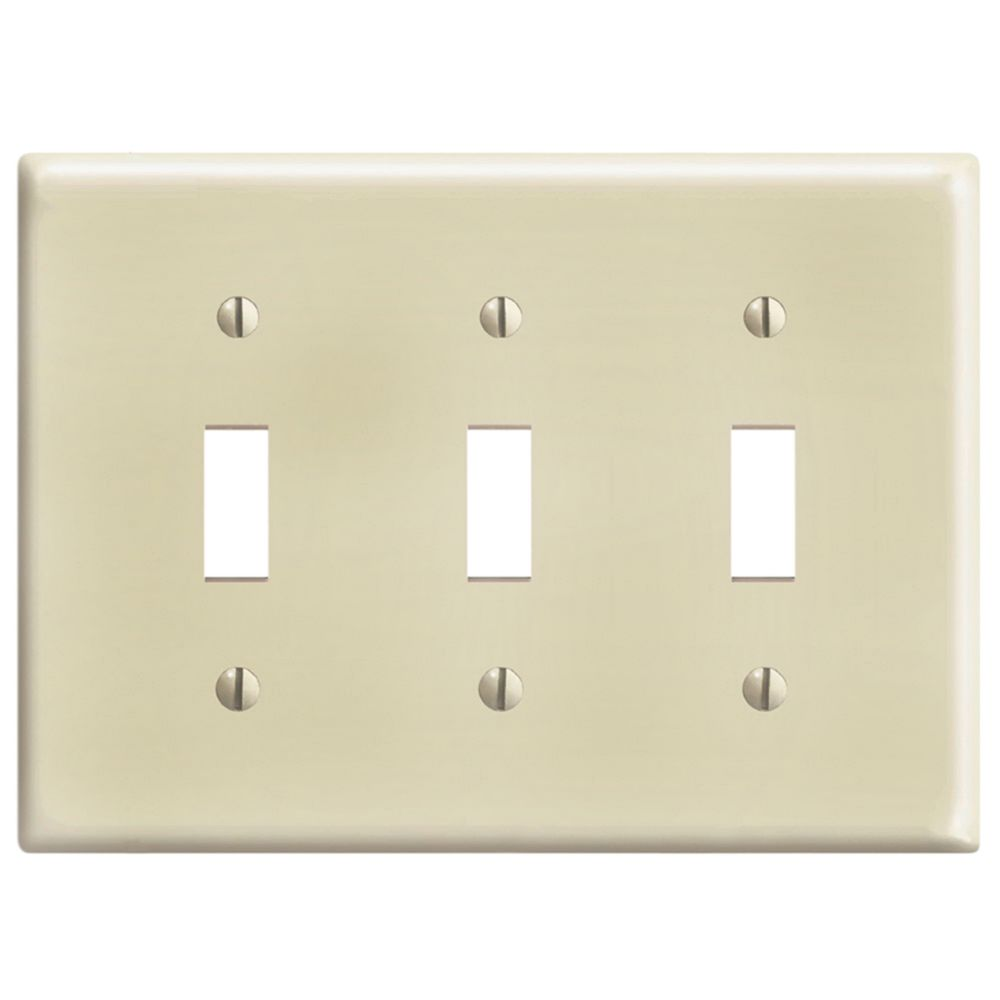 3-Gang Midway Nylon Toggle Switch Wallplate, in Ivory