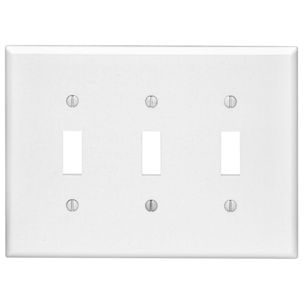 3-Gang Midway Nylon Toggle Switch Wallplate, in White