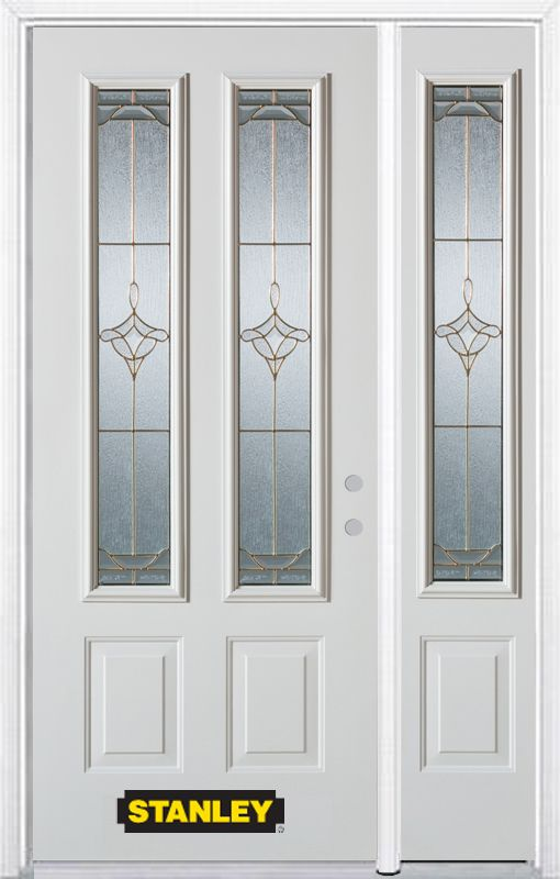 52-inch x 82-inch Florence 2-Lite 2-Panel White Steel Entry Door with Sidelite and Brickmould