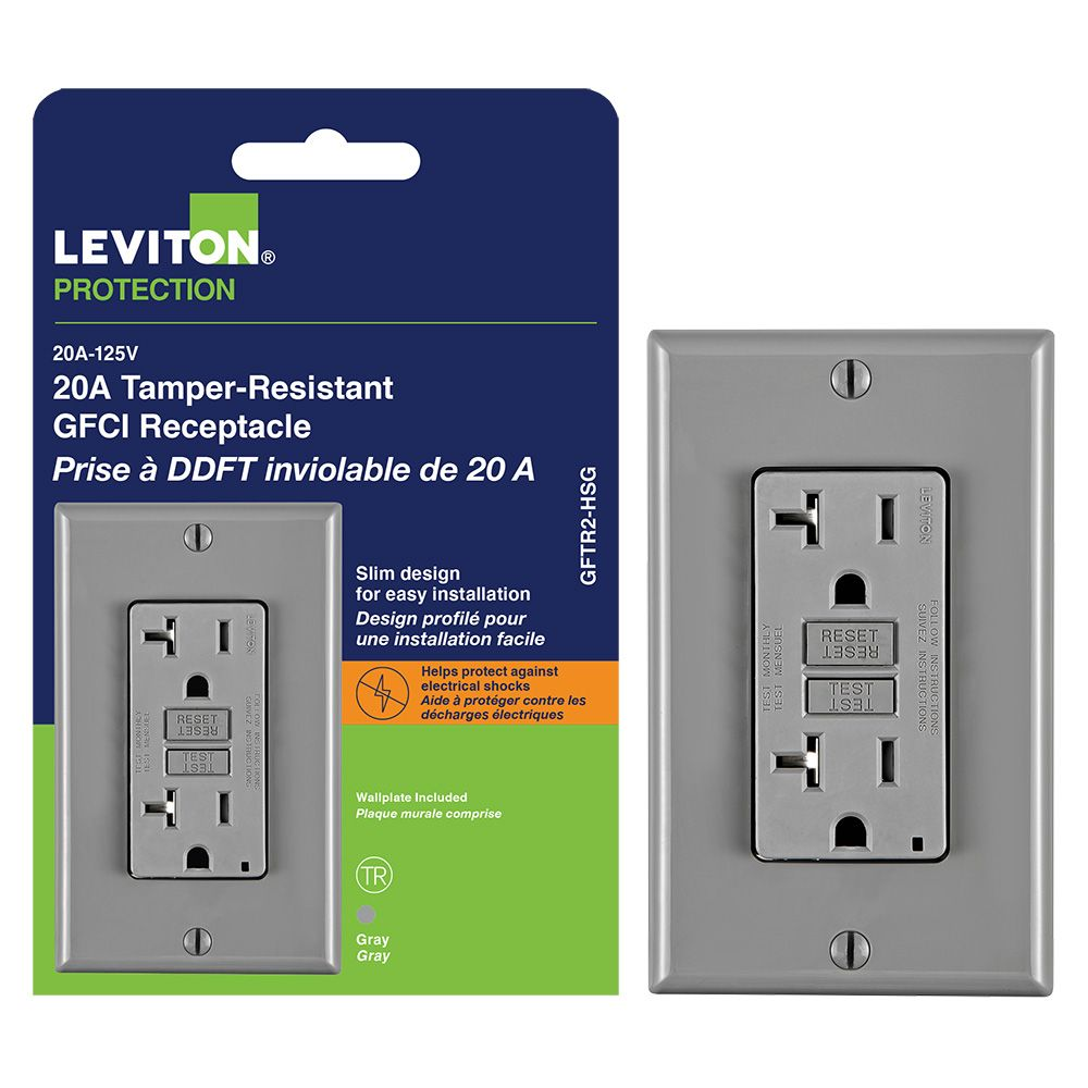 Decora 20 Amp Tamper-Resistant Slim GFCI Receptacle/Outlet With Wall Plate