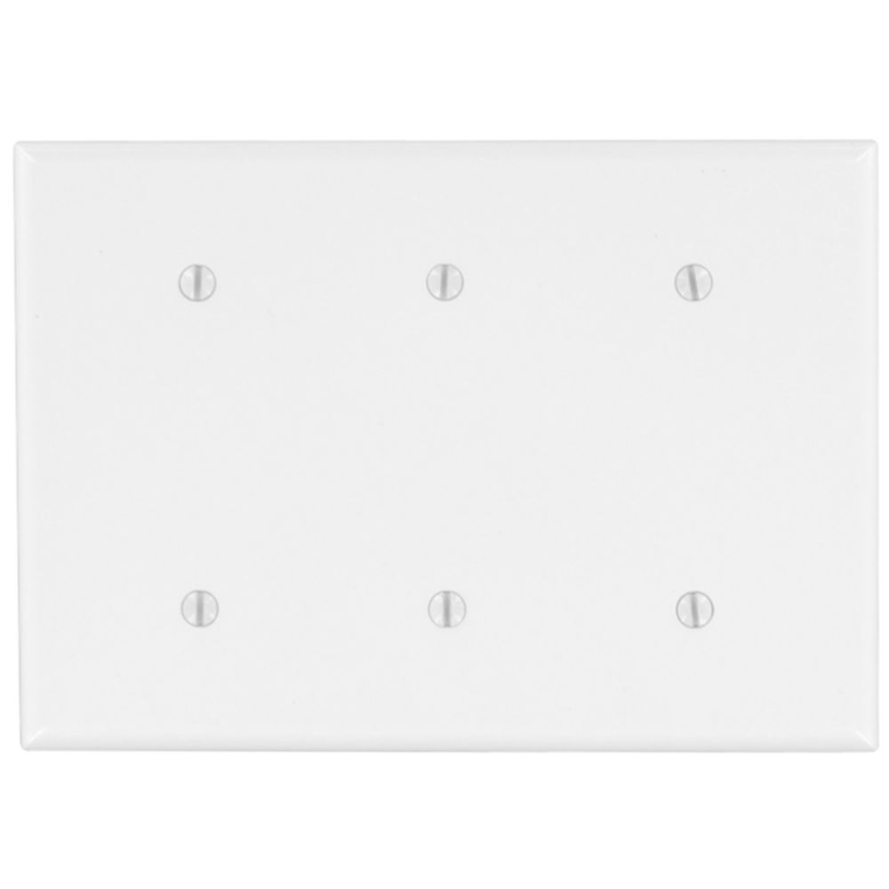 3-Gang Midway Nylon Blank Wallplate, in White