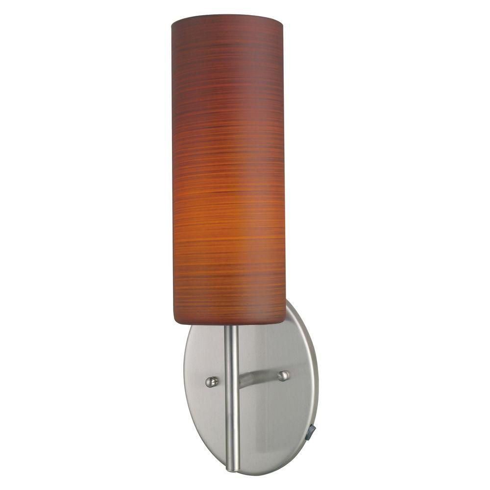Brown Sugar Wall Light Matte Nickel Finish With Wiped Brown Glass
