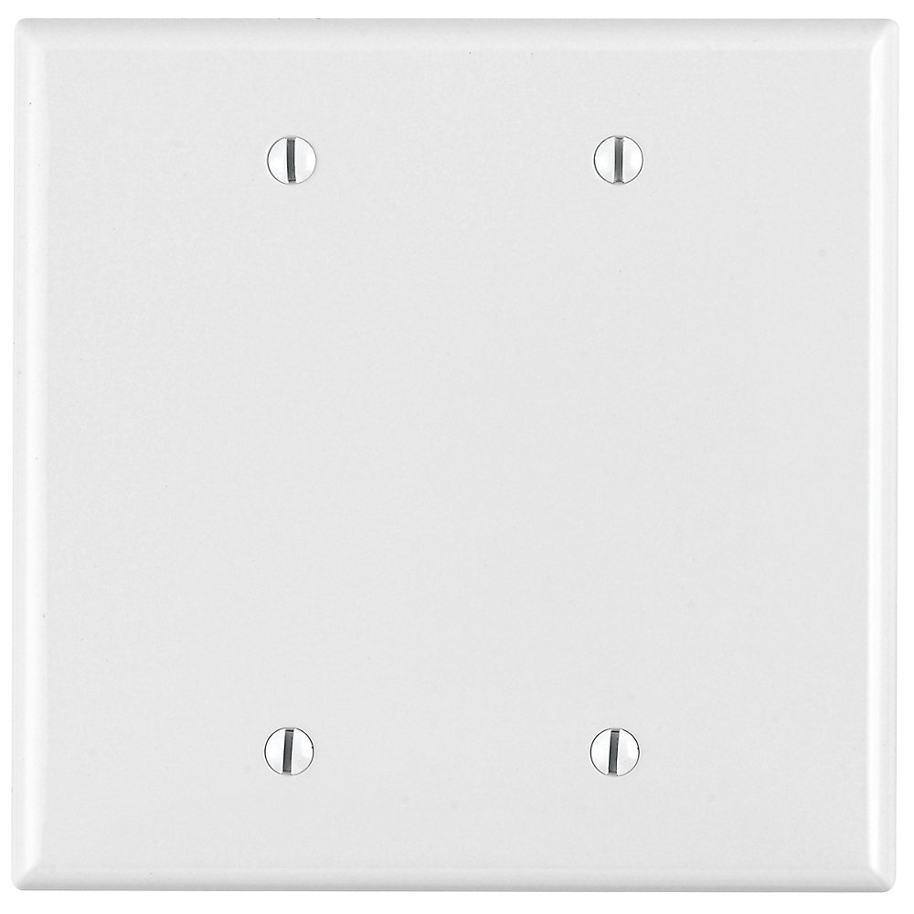 2-Gang Midway Nylon Blank Wallplate, in White