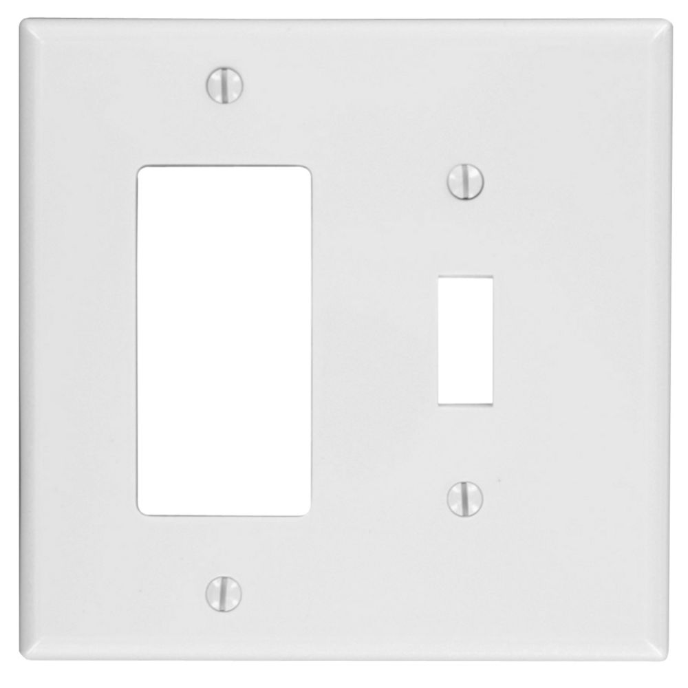 2-Gang Midway Nylon Combination Wallplate for 1 Toggle Switch & 1 Decora Device, in White PJ126-R52 in Canada