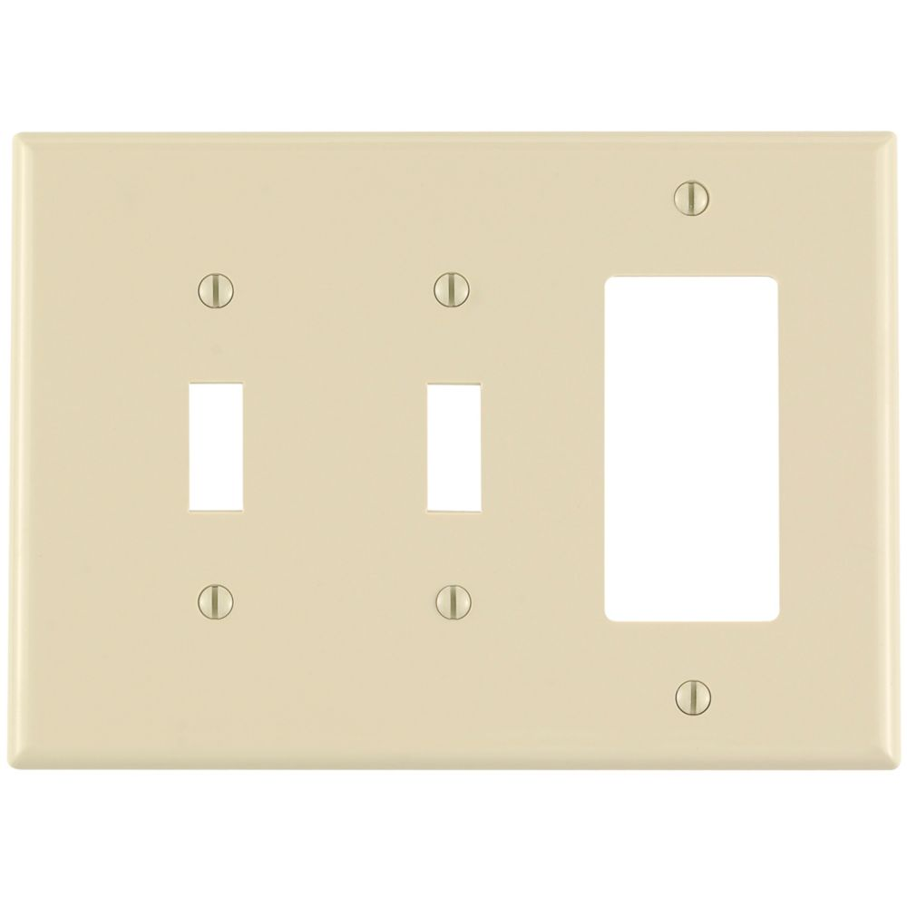3-Gang Midway Nylon Combination Wallplate for 2 Toggle Switches & 1 Decora Device, in Ivory
