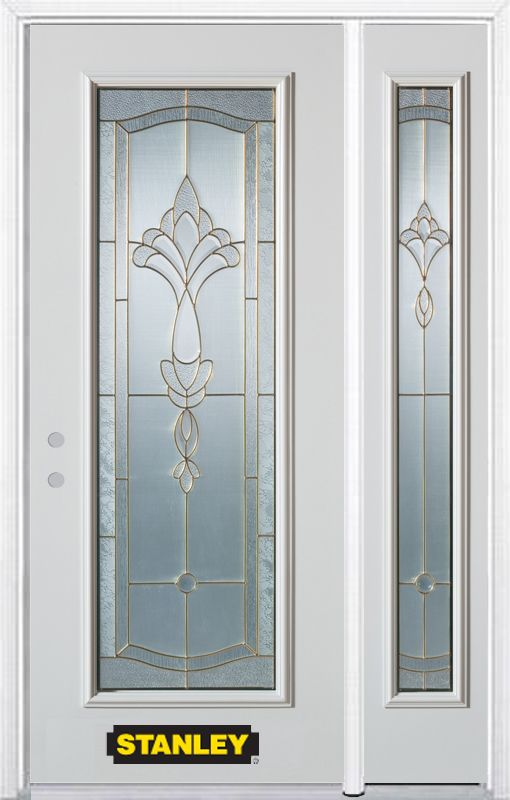48-inch x 82-inch Karina Full Lite White Steel Entry Door with Sidelite and Brickmould