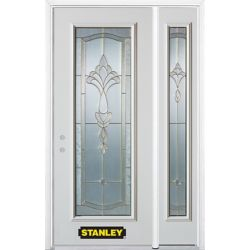 Stanley Doors 48.25 inch x 82.375 inch Karina Brass Full Lite Prefinished White Right-Hand Inswing Steel Prehung Front Door with Sidelite and Brickmould