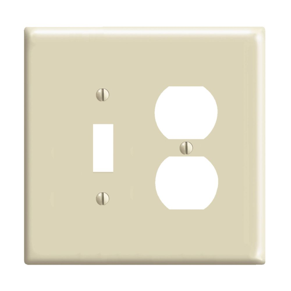 2-Gang Midway Nylon Combination Wallplate for 1 Toggle Switch & 1 Duplex Receptacle, in Ivory