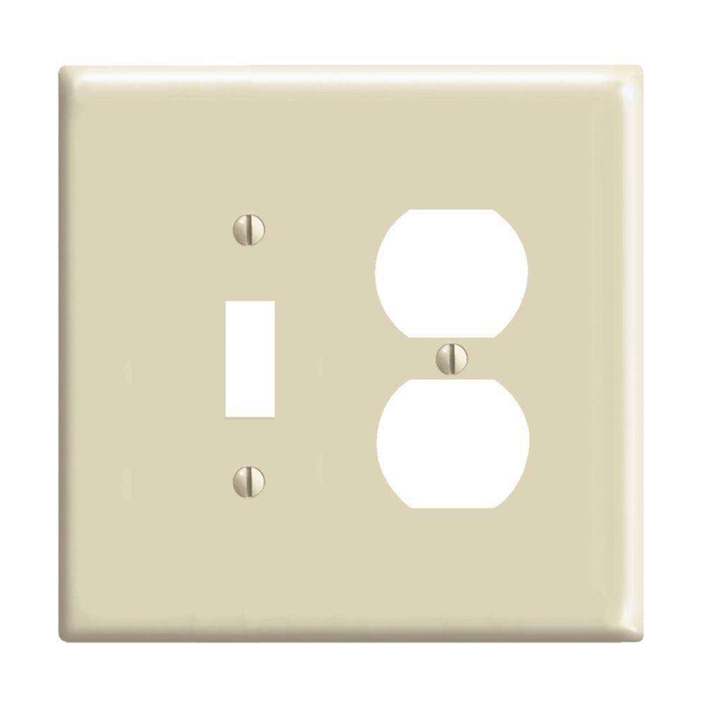 Plaque murale combinée de format intermédiaire en nylon pour un interrupteur à bascule et une pri...