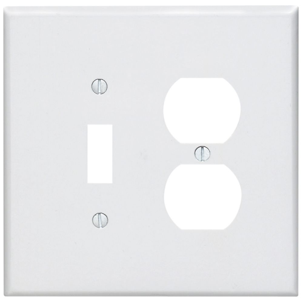 2-Gang Midway Nylon Combination Wallplate for 1 Toggle Switch & 1 Duplex Receptacle, in White