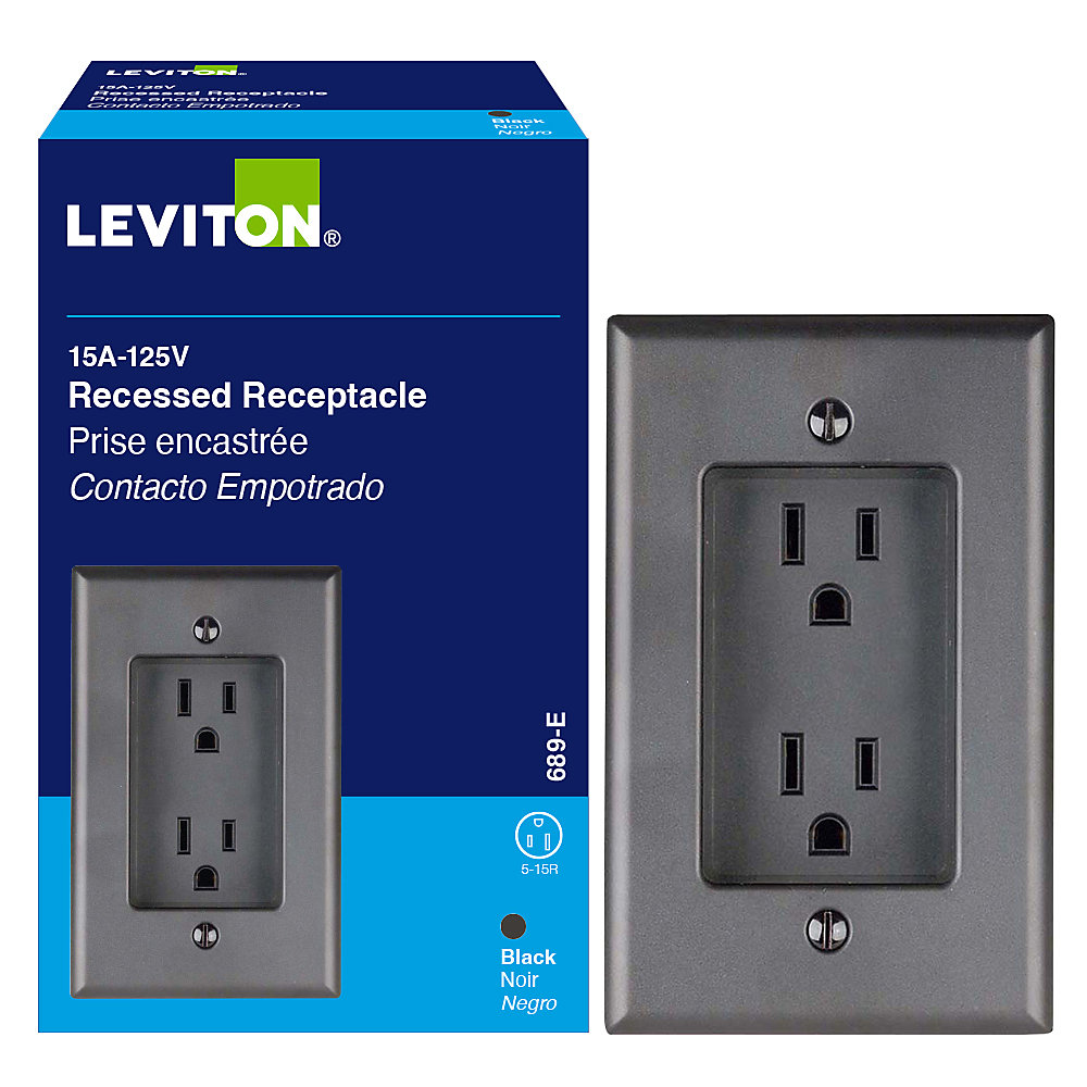 1-Gang Recessed Duplex Receptacle 15A, in Black
