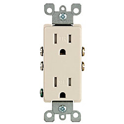 Decora Tamper Resistant Receptacle 15A, in Light Almond