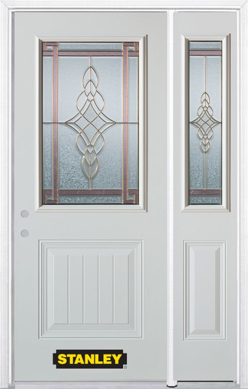 Stanley Doors 52.75 inch x 82.375 inch Milano Brass 1/2 Lite 1-Panel Prefinished White Right-Hand Inswing Steel Prehung Front Door with Sidelite and Brickmould