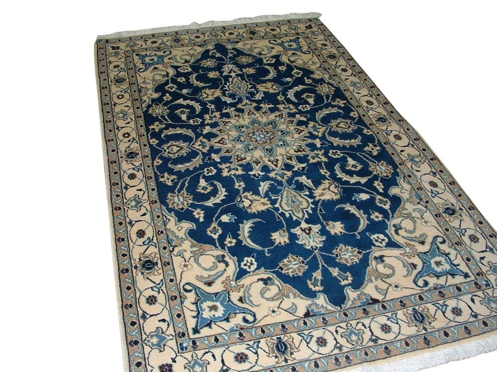 Nain Persian Hand Woven Wool & Silk Colour Blue 5 Ft. 9 In. x 3 Ft. 8 In. Area Rug