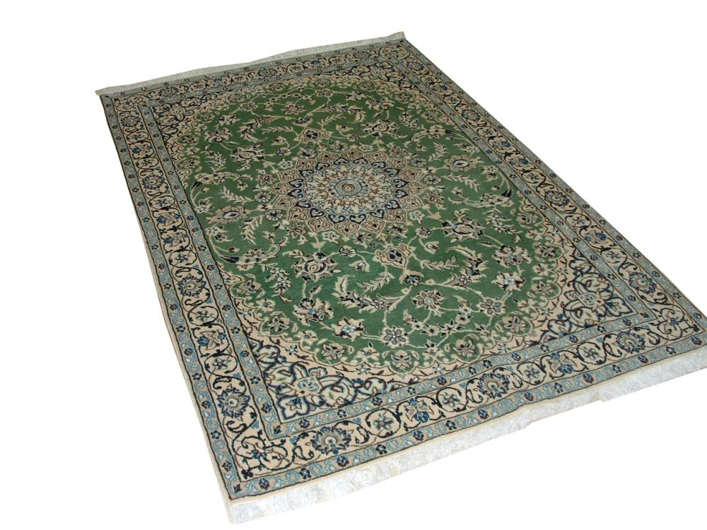 Nain Persian Hand Woven Wool & Silk Colour Green 5 Ft. 9 In. x 3 Ft. 8 In. Area Rug