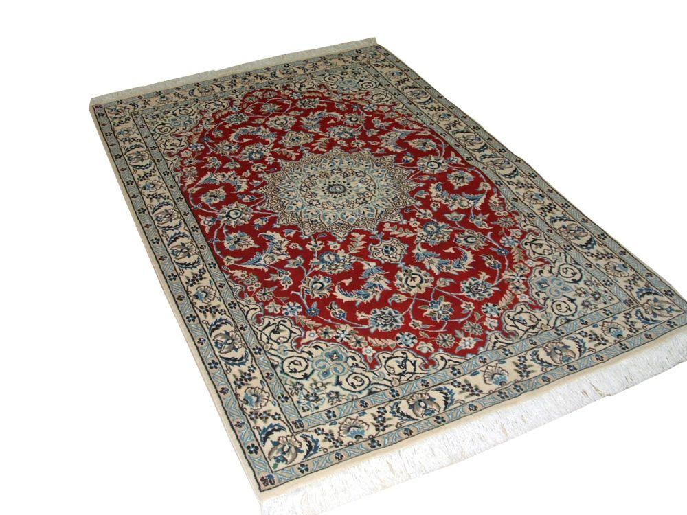 Tapis Persian Nain Laine et soie tissée à la main couleur Rouge 5 Po.9 Pi. x 3 Po.8 Pi.