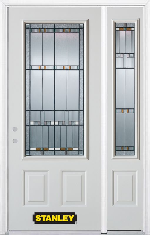 52-inch x 82-inch Chicago 3/4-Lite 2-Panel White Steel Entry Door with Sidelite and Brickmould
