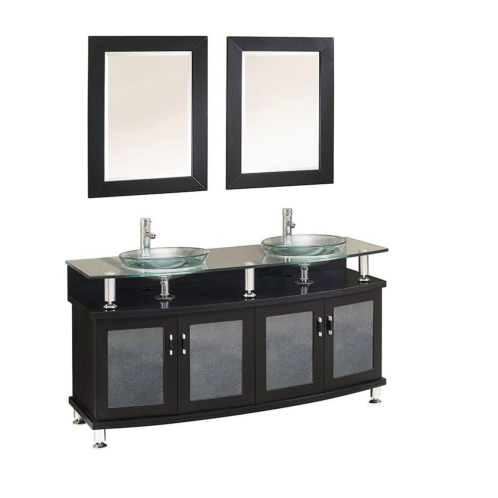 Contento 60-inch Double Sink Vanity in Espresso Finish with Mirrors