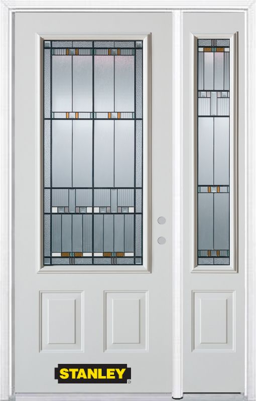 Stanley Doors 48.25 inch x 82.375 inch Chicago Patina 3/4 Lite 2-Panel Prefinished White Left-Hand Inswing Steel Prehung Front Door with Sidelite and Brickmould